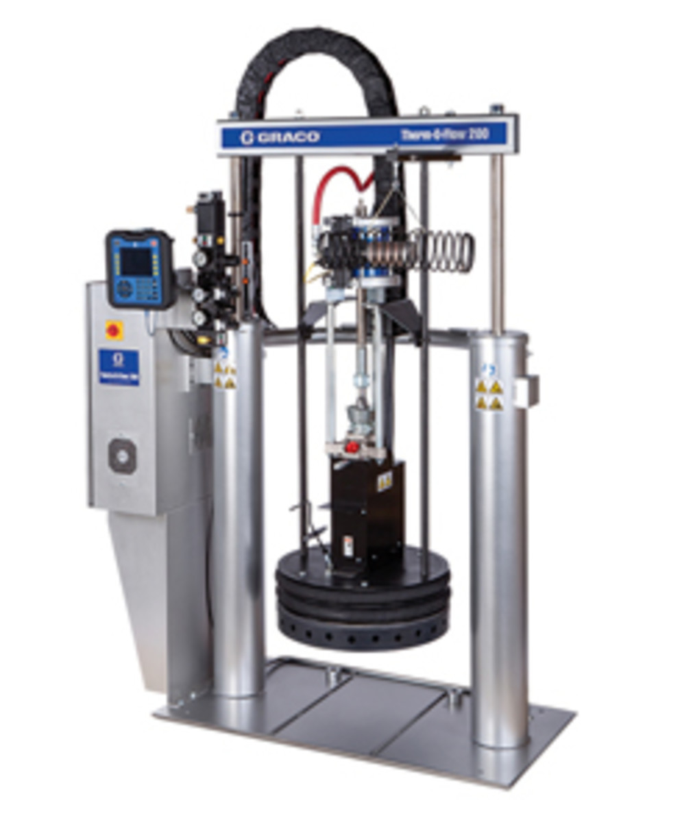 In the market for an industrial bulk hot melt glue system? Graco's Therm-O-Flow 200 applies sealants and adhesives from 55-gallon drums.