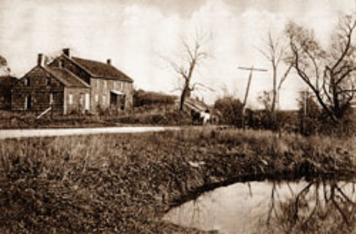 Shown in this photo taken circa 1905 by an anonymous photographer is the first of two houses built by Thomas Powell in the village that is home to Amana Tool.