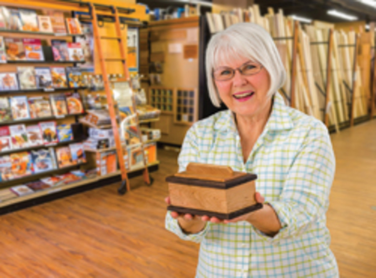 "A keepsake box made in Rockler's ""Make-and-Take"" class offered in recognition of National Woodworking Month in April."