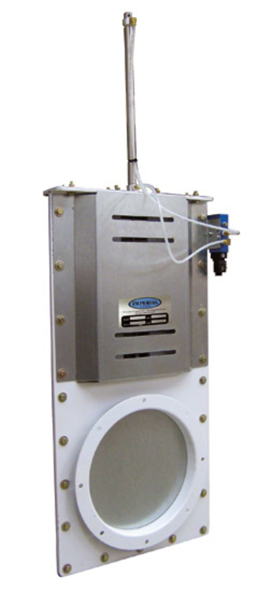 Imperial Systems has introduced pneumatic slide gates using a compressing air cylinder. They are available in 4-inch to 24-inch sizes. For information, visit www.isystemsweb.com.