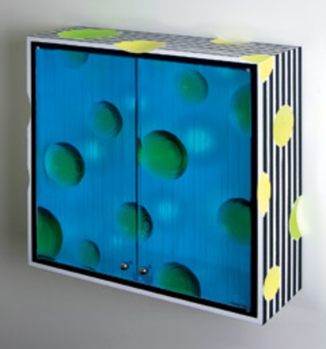 Bart Niswonger's medicine wall cabinet features ash, cast urethane and paint.
