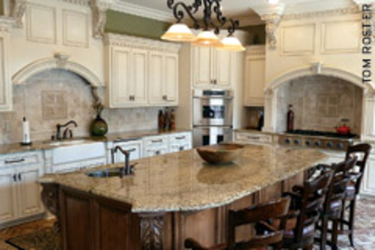 This custom kitchen for a Gulf Coast client features the popular glazed-finish cabinetry.