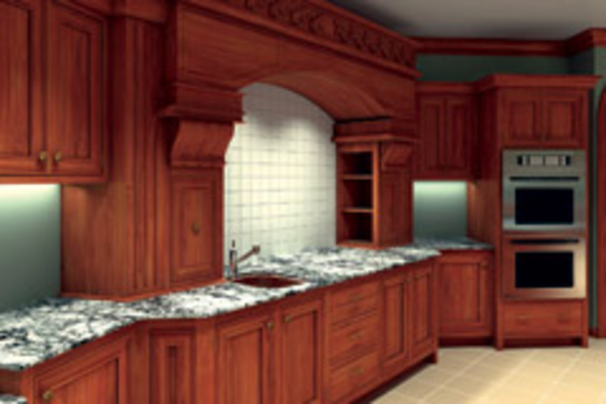 A custom kitchen designed in Microvellum's Toolbox 7 program.