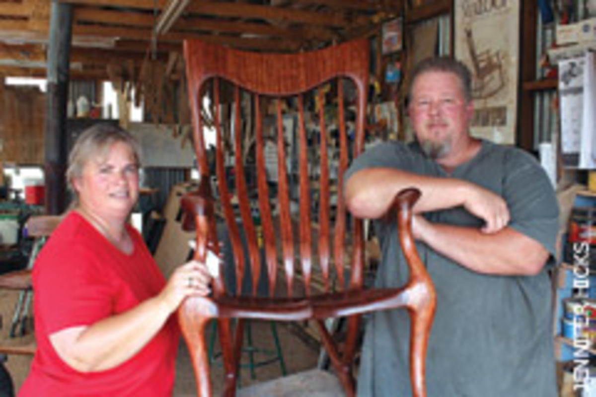 "Scott and Stephanie in the shop with the ""Shangrila Rocker"" - the couple's most popular offering."