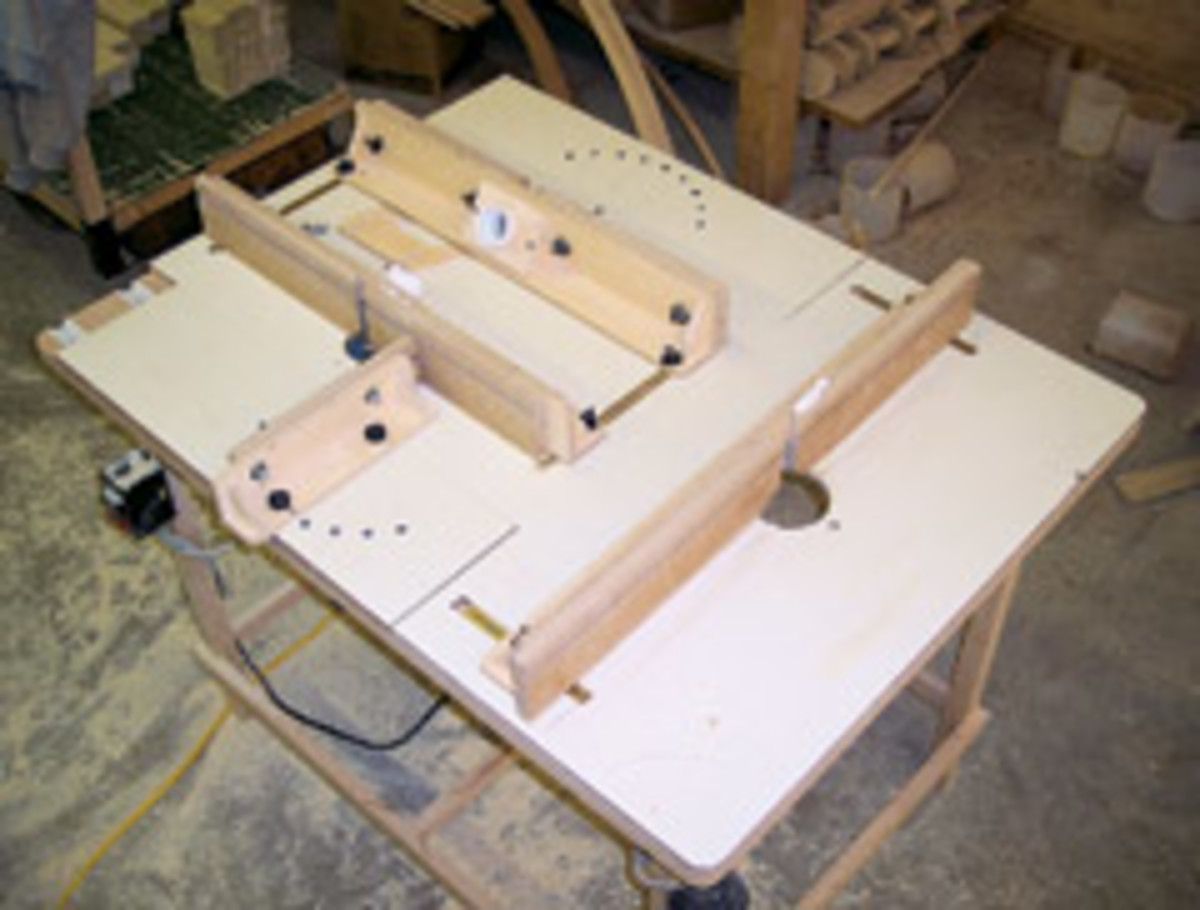 The author's multistation router table for making paneled newels.