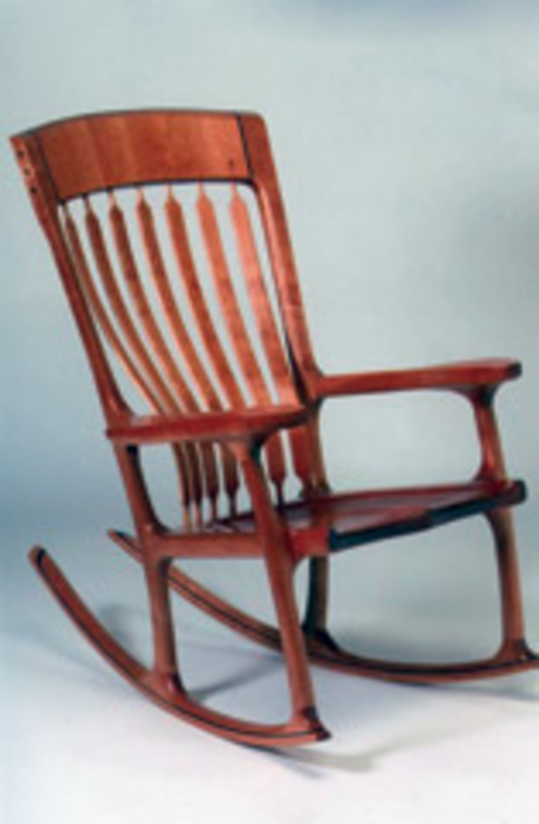 Juried works in the Texas Furniture Makers Show include this hall chair by Robert Jarry of Austin.