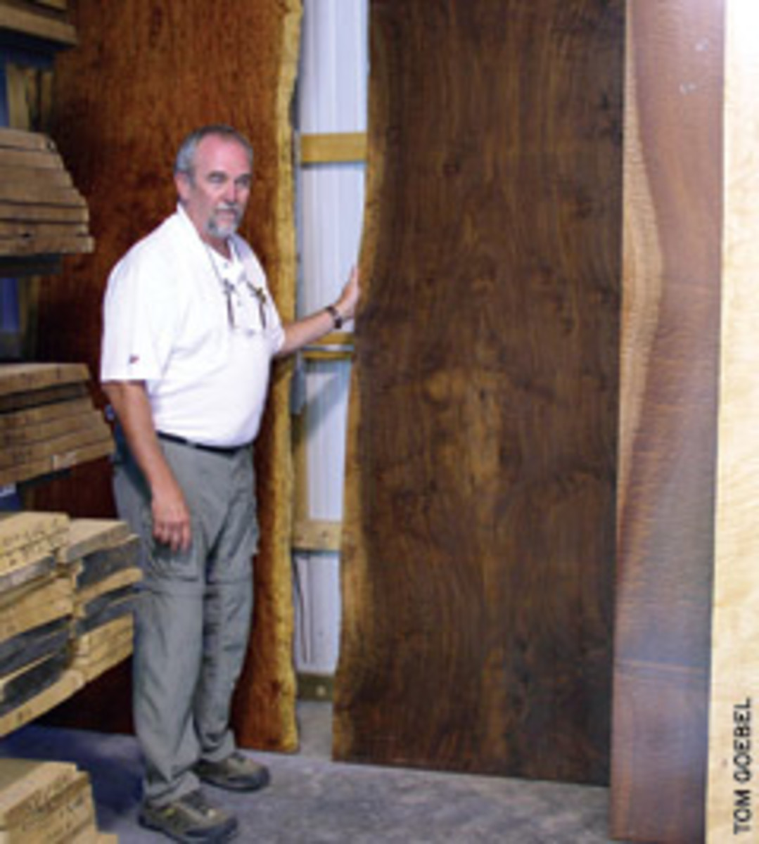 Corlis with some prized wood slabs.