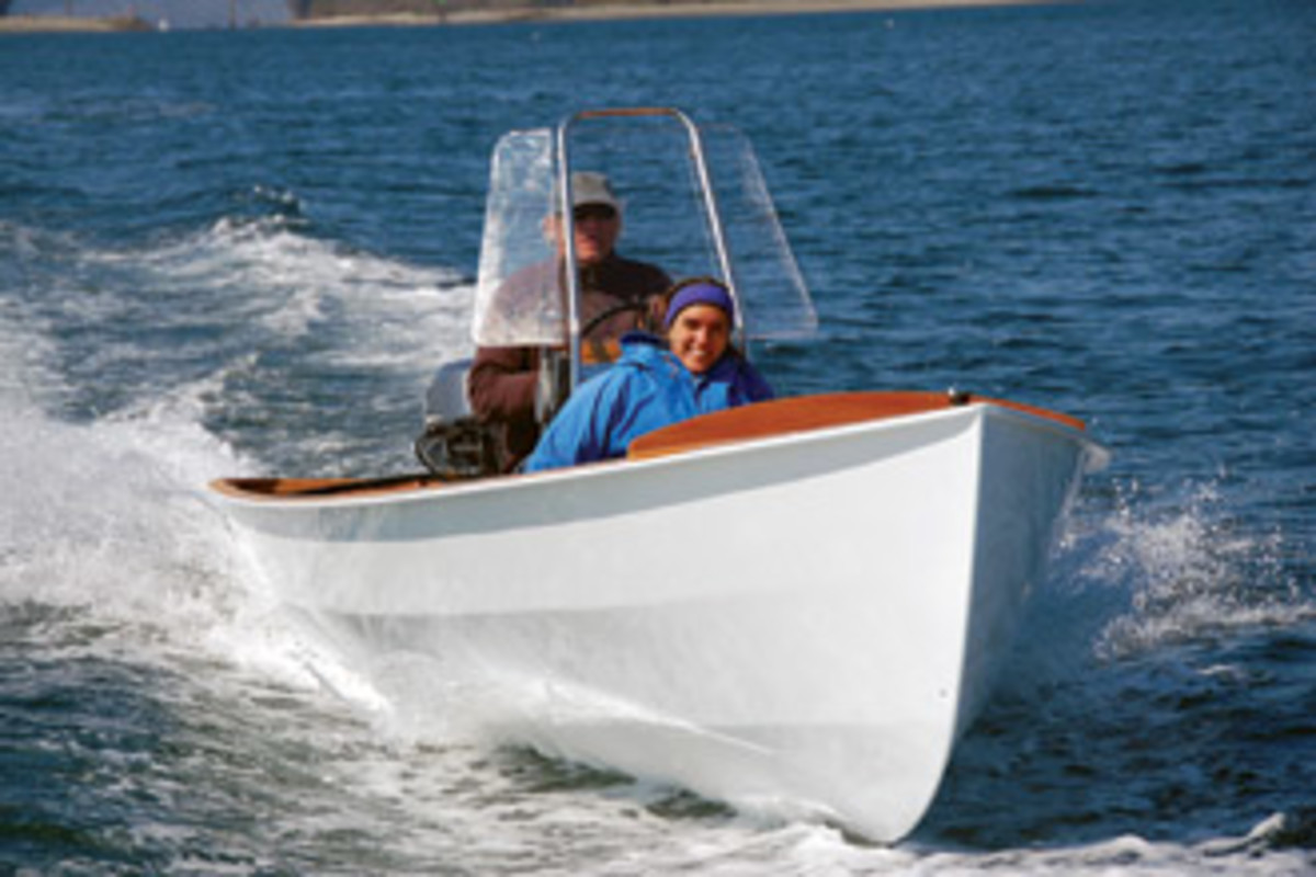 Lean and light, the PT Skiff planes effortlessly with just 20 hp on the stern.