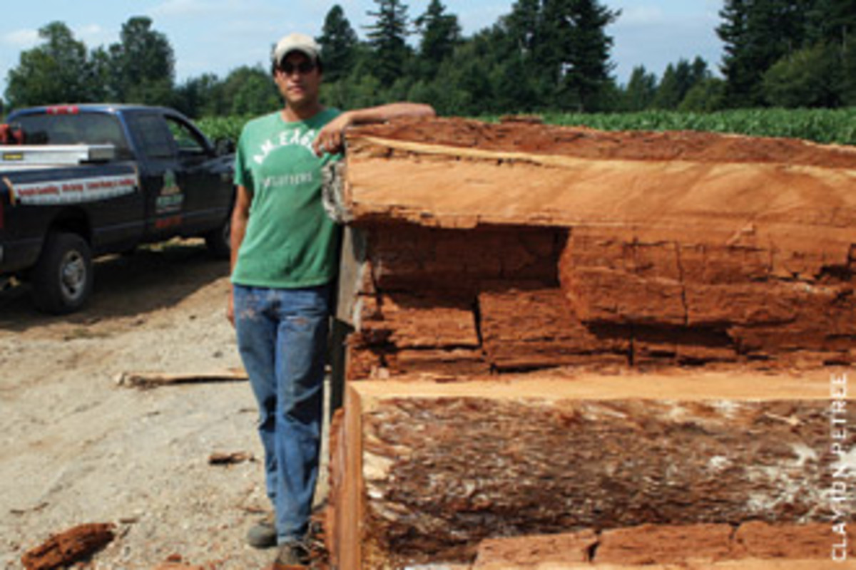 Simon Petree of Greenleaf Forest Products leans against a stack of locally reclaimed Douglas fir logs.