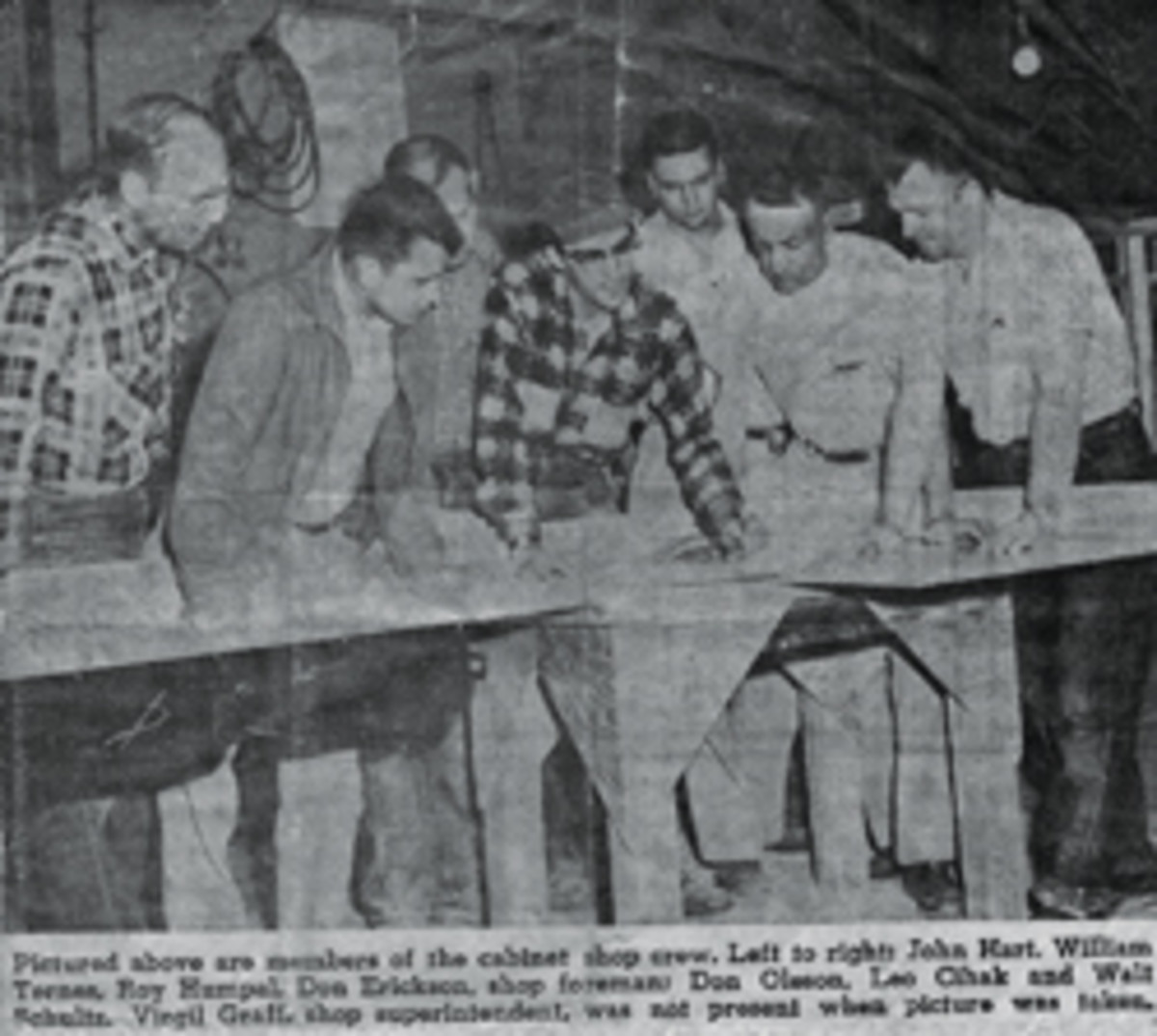 Don Erickson and his crew from a 1961 newspaper photo.