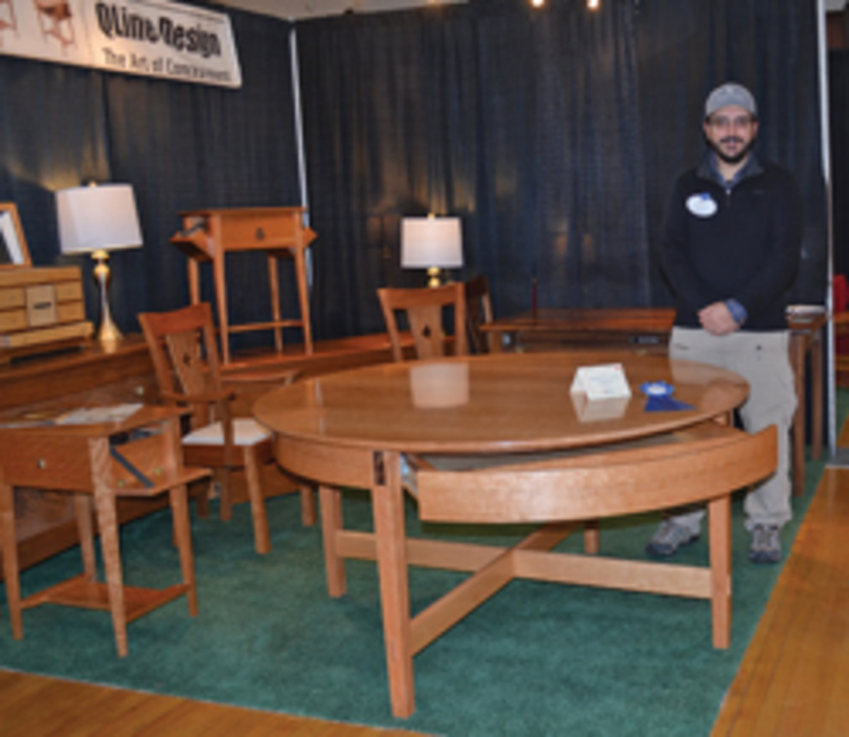 Matthew Dworman of QLine Design in Kingston, N.H., won the Rhode Island show's new product debut award.