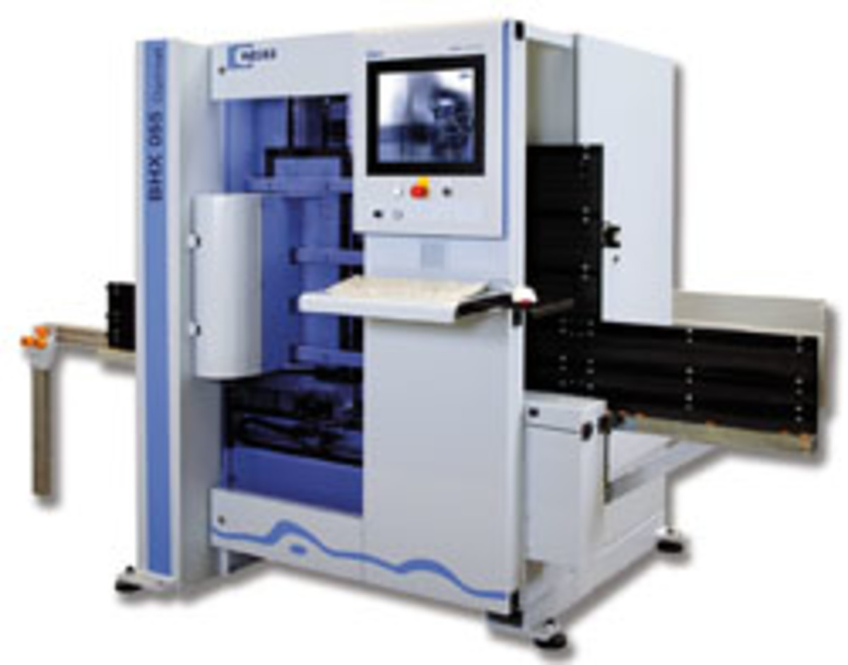 Vertical CNC machining centers are also available. Weeke offers several models, including rhe BHX 055 shown here. For information, visit www.stilesmachinery.com.