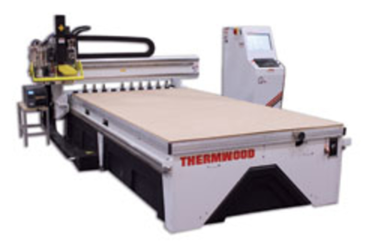 Thermwood's Cabinetshop 43, featuring a 12-hp HSD spindle and 11-position automatic tool changer. For information, visit www.thermwood.com.