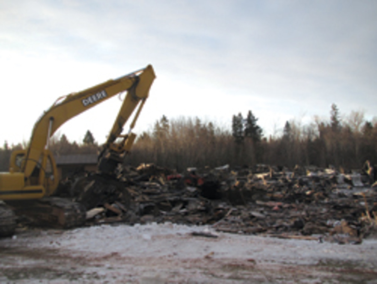 The debris at Dunphy's shop included three kitchen jobs and a new CNC machine.