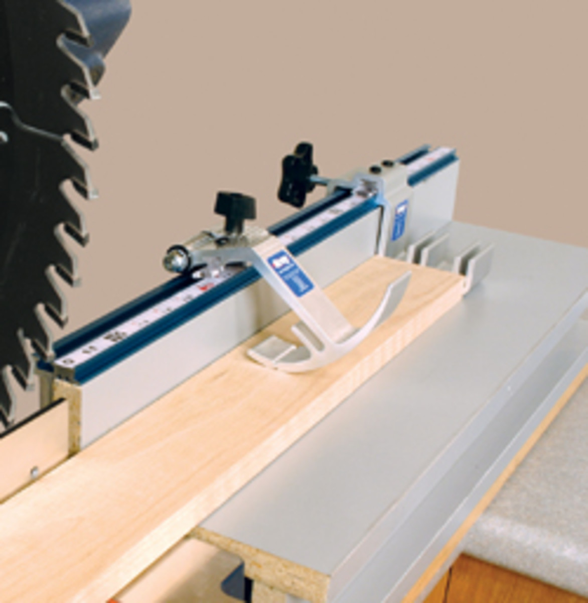 A manual stop system from Kreg Tools helps ensure repeatability and accuracy on the miter saw.
