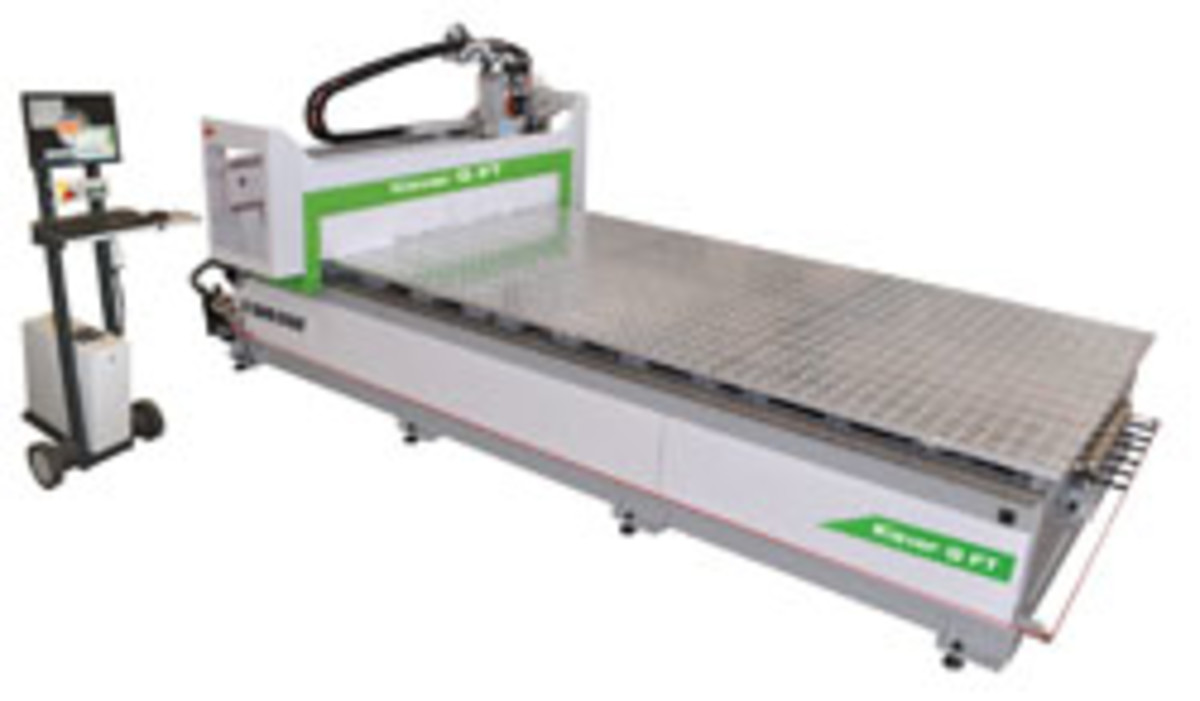 Biesse's gantry Klever CNC router is designed for small- to mid-sized shops, featuring a monolithic steel bridge frame and the ability to process wood, plastic or aluminum. For information, visit biesseamerica.com.