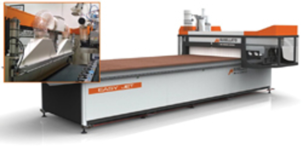 Busellato's Easy Jet CNC router with optional panel-unloading device.