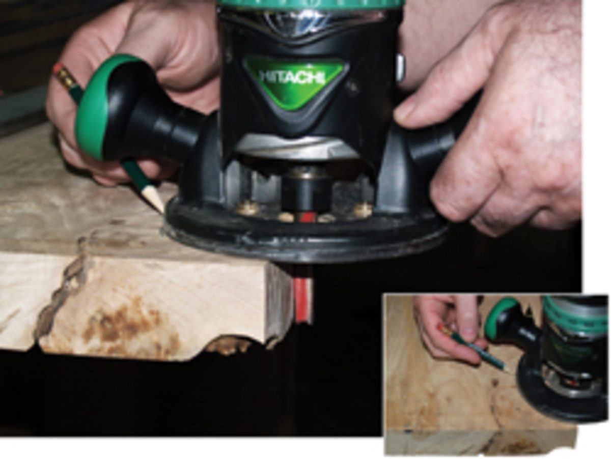 Mark the location of the router base as reference marks for the straight-edge.