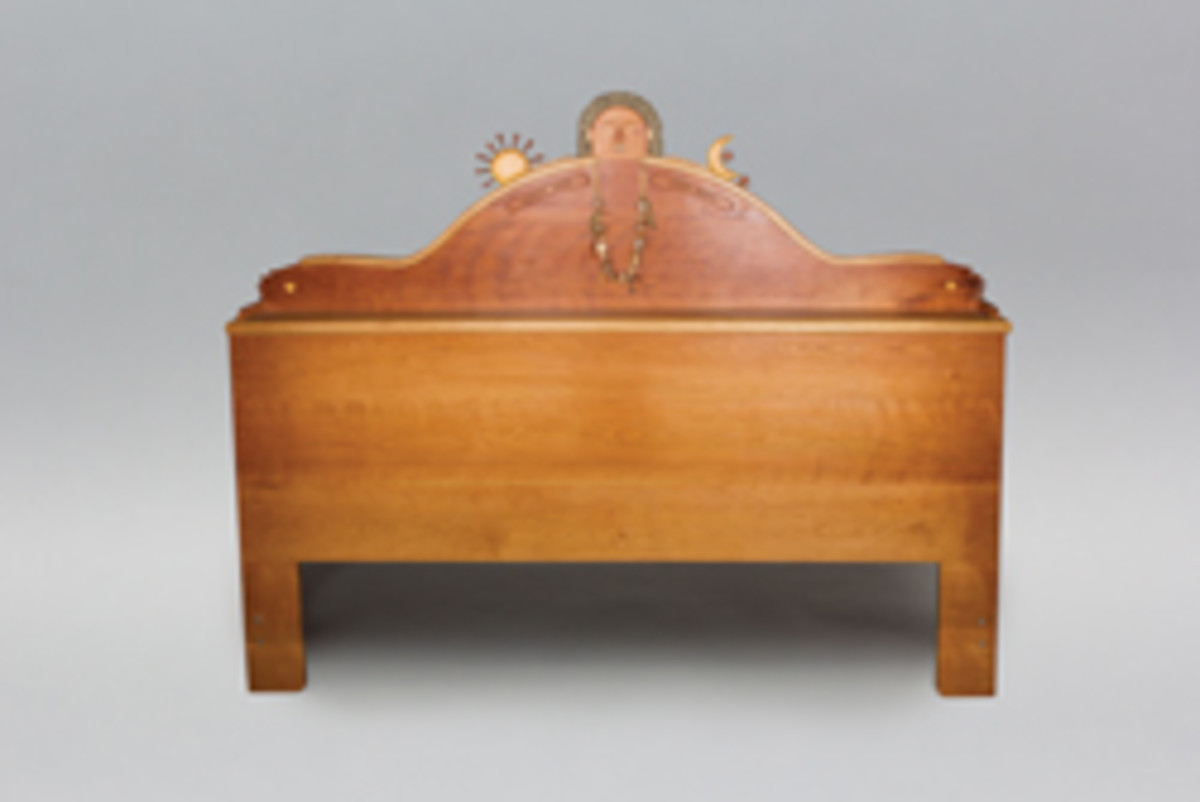 Fuller presents this cherry headboard by Tommy Simpson.