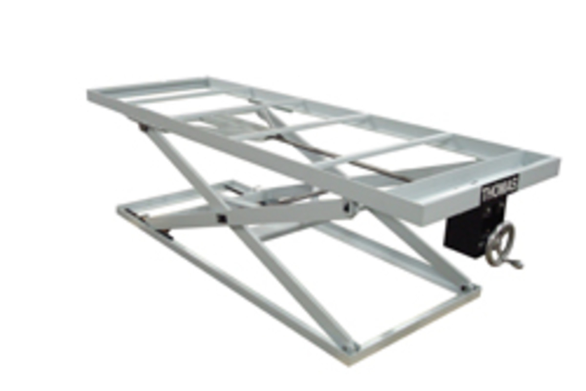 An adjustable platform, available from Thomas Mfg., in Girard, Kan.