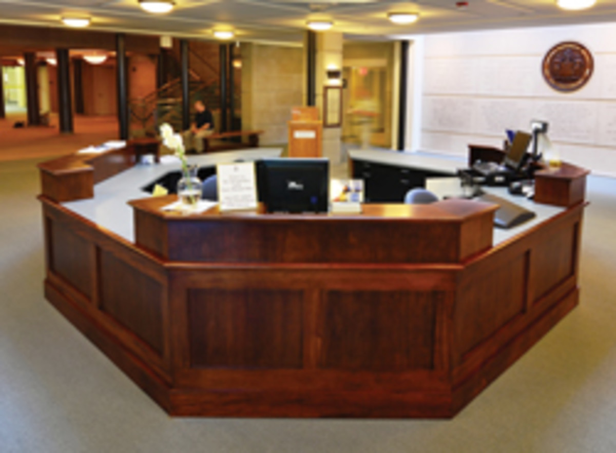 A reception desk from the shop's extensive portfolio.