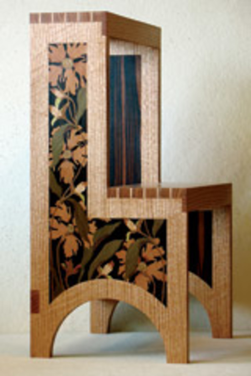 "Paula Garbarino of Medford, Mass., used quartersawn oak and marquetry veneers for her 25"" x 16"" x 12"" ""Steps."""
