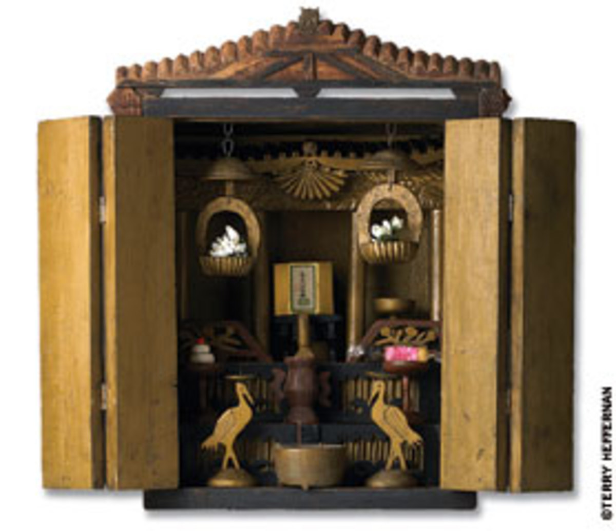Kichitaro Kawase, interned at Amache, Colo., used scrap wood, metal and paint for this butsudan, a wooden cabinet with doors that enclose and protect a religious icon and other items.
