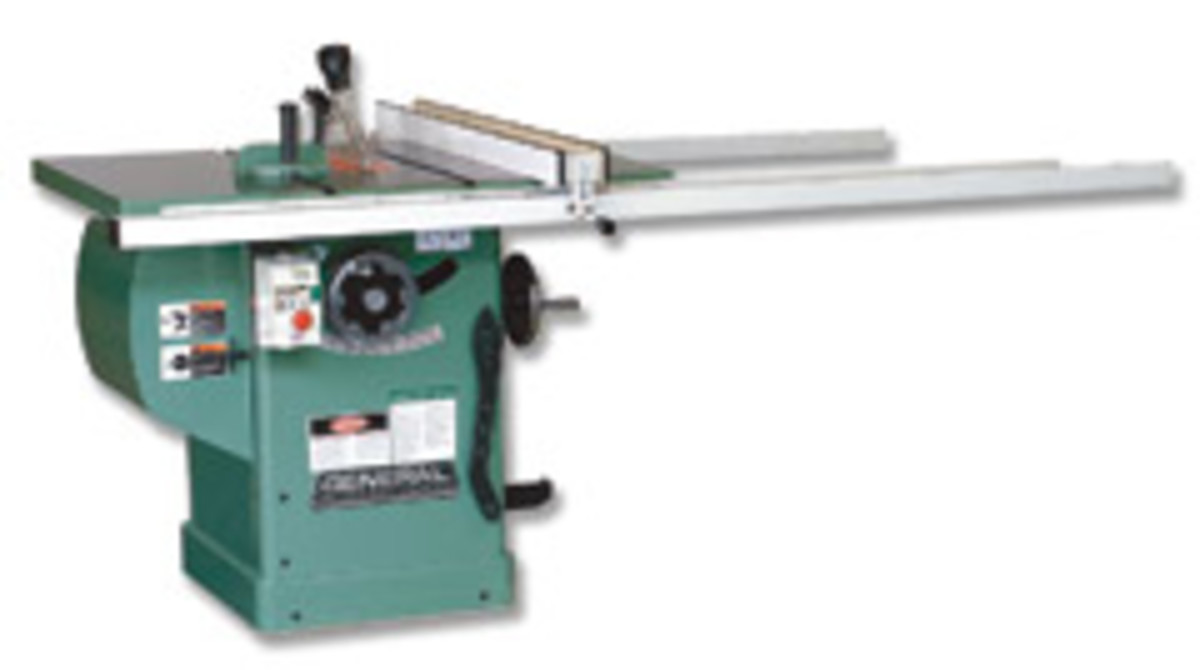 General's new cabinet saw, model 50-270 M1, offers a riving-style splitter and a European-style riving knife.
