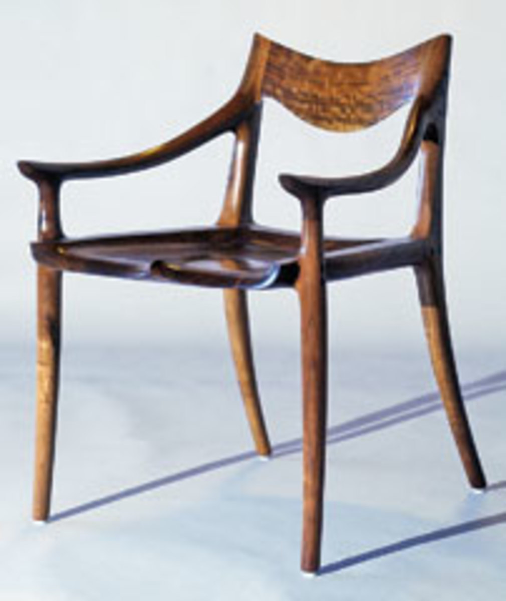 This 2006 walnut low-back dining chair is classic Sam Maloof and will be shown at the Fuller Craft Museum.