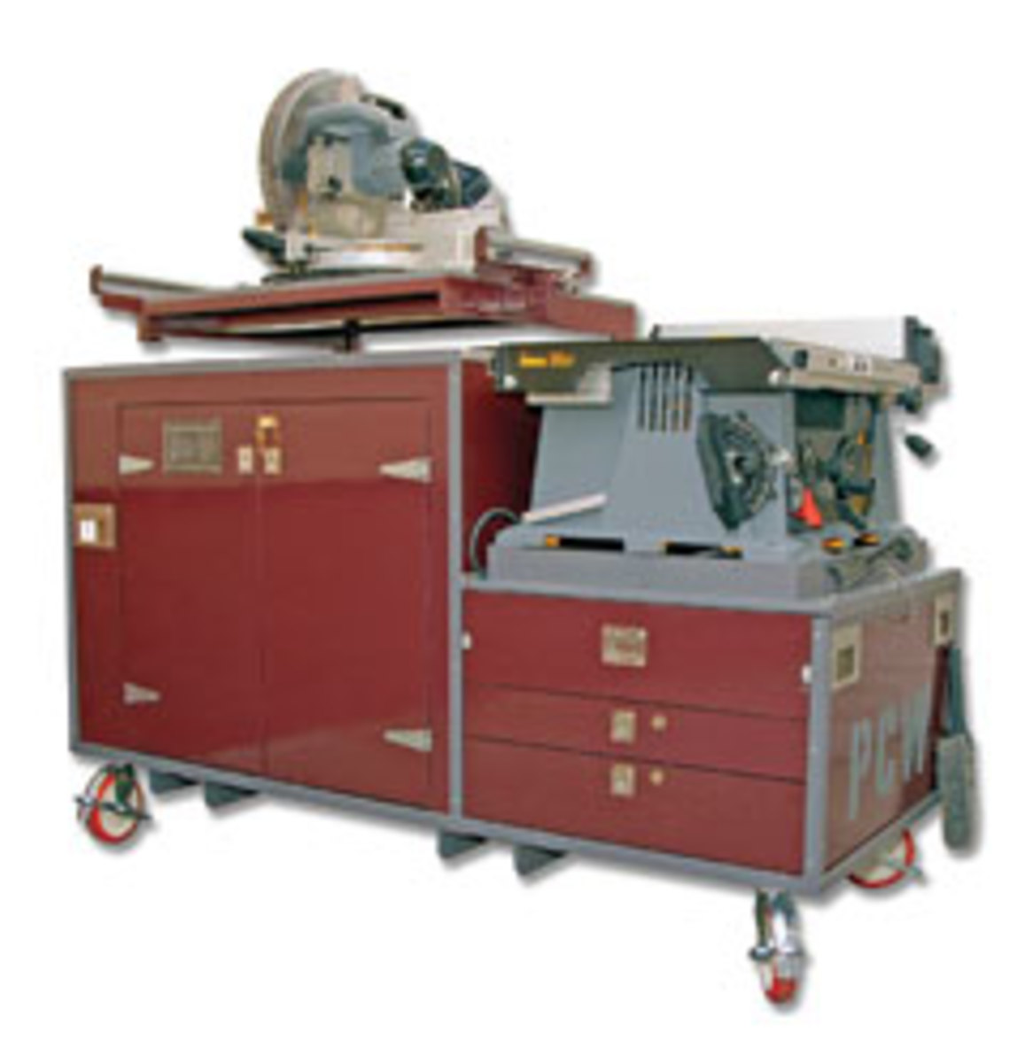 The Portable Carpentry Worskshop supports a table saw, miter saw and router. It saves setup and dismantling time on the job site.