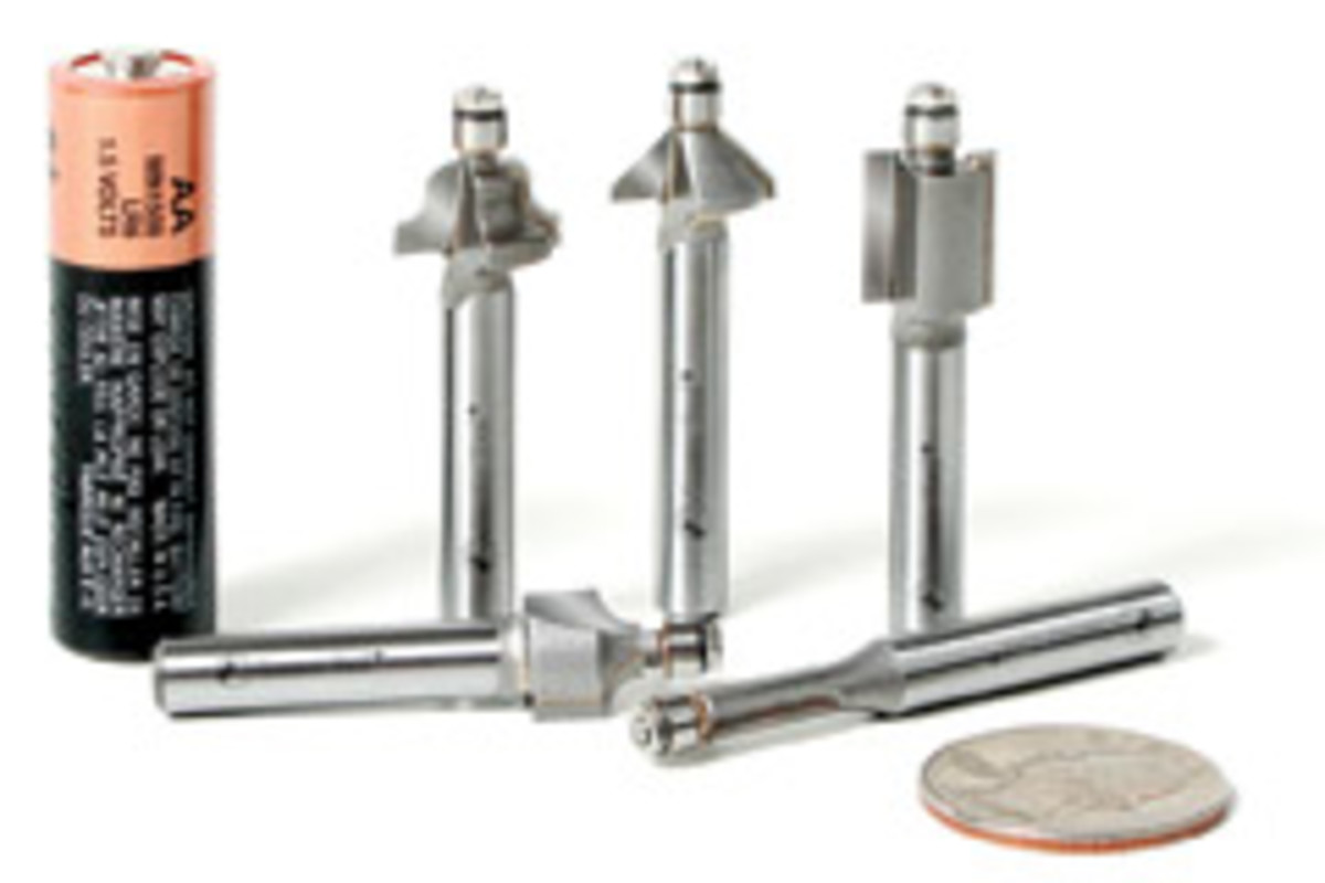 """Amana's 3/16"""" router bits are currently available in five profiles."""