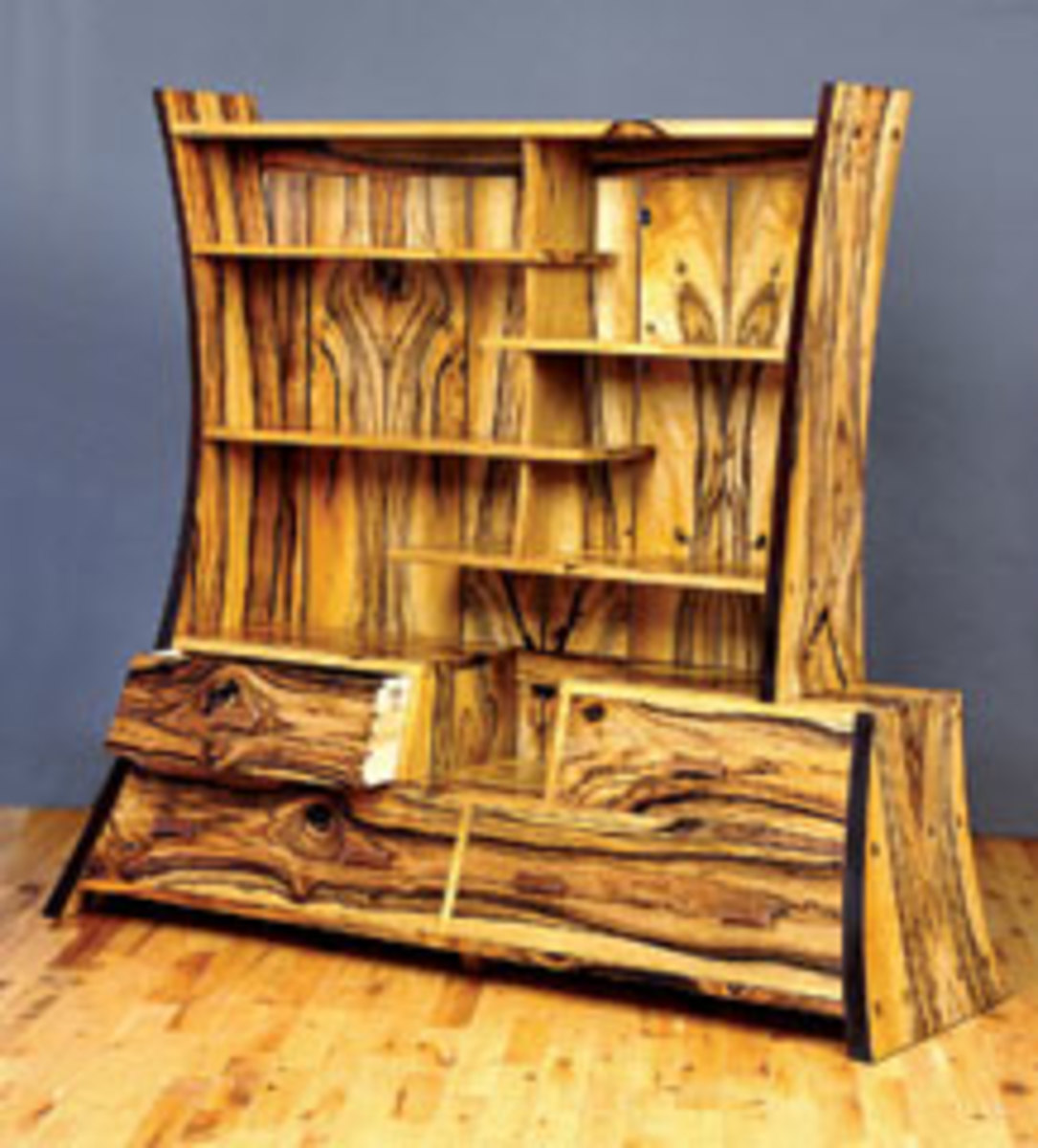 Pitt's portfolio includes this four-drawer cabinet made from persimmon, featuring bent-laminated sides.