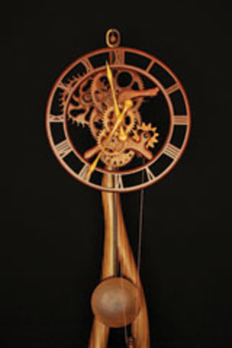 Gary Johnson's handmade wooden clocks include this freestanding model built with a mix of exotic wood species.