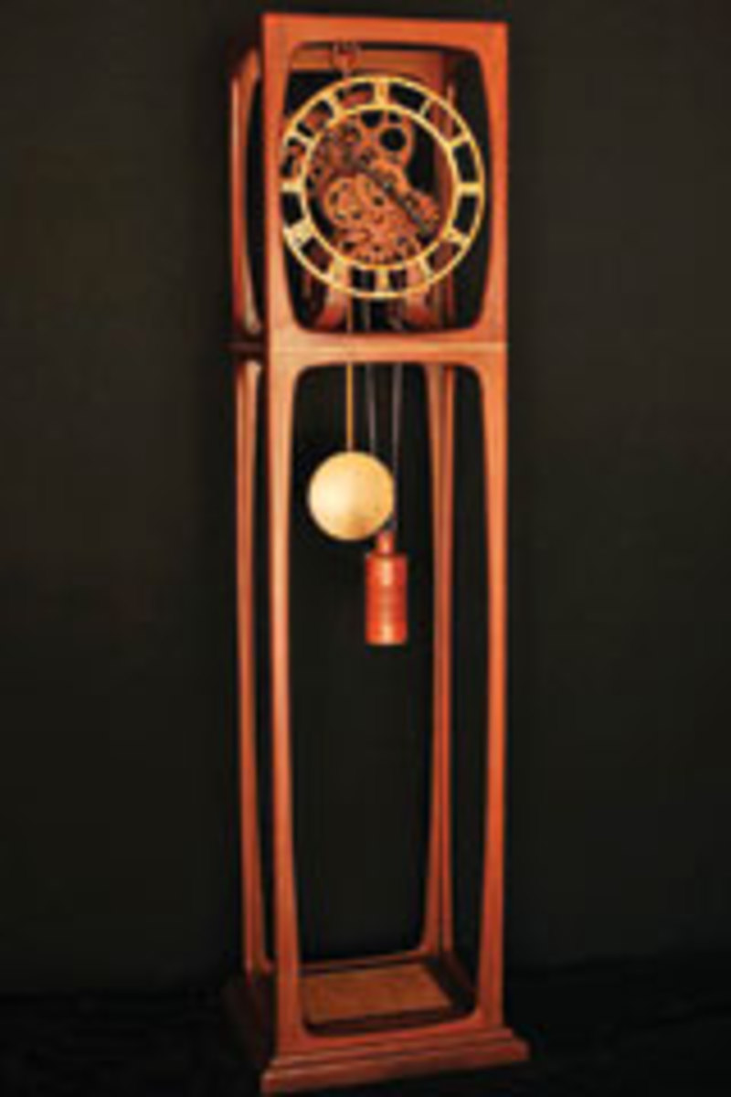 This open-frame clock is built with mahogany, quilted maple and cocobolo.
