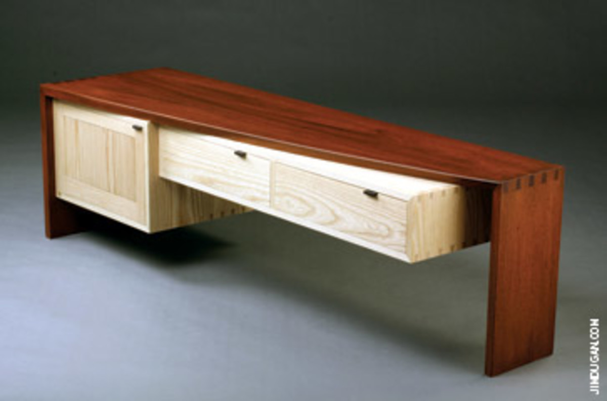 """""""Current Student Work"""" by participants in the Center for Furniture Craftmanship's nine-month comprehensive program runs through May 27. Phil Leonard used goncalo alves, ash and ebony for his piece titled """"Unlimited."""""""