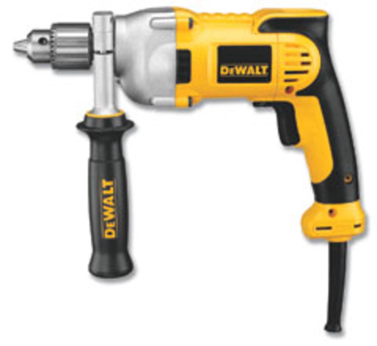 "DeWalt's 1/2"" corded drill, model DWD210G, with a pistol grip."