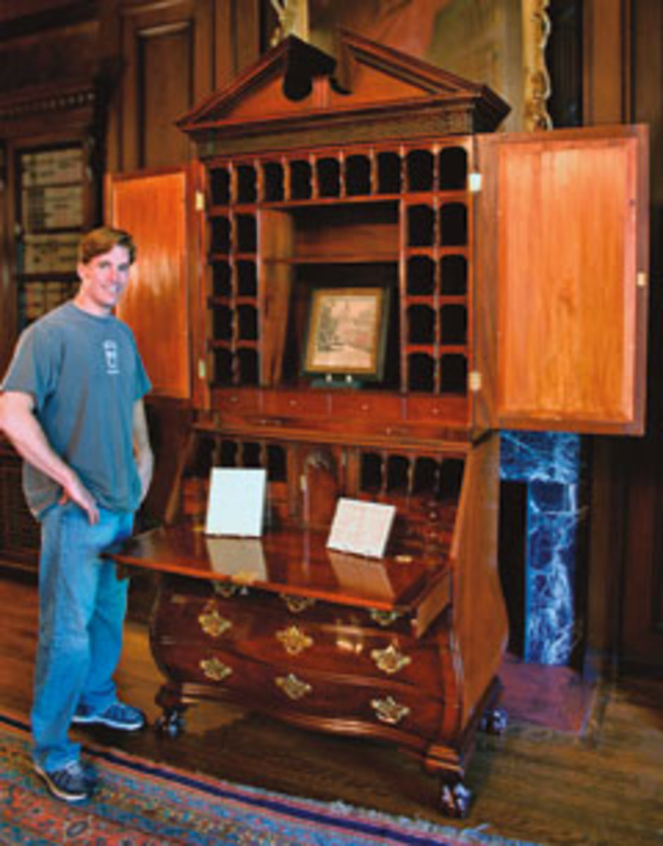 Thomas McDonald and his reproduction of a bombe secretary, which took 14 months to complete.