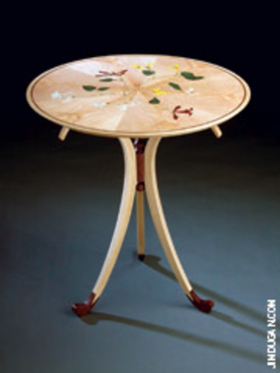 """Tim Hewett used ash, walnut, maple and various woods for inlay work for his """"Honeysuckle Table,"""" which is on display at the Messler Gallery in Rockport, Maine."""