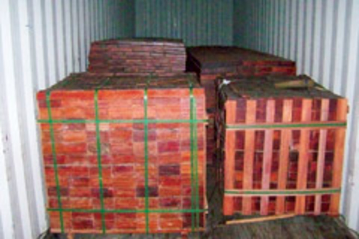 Exotic woods arrive in containers such as these loads of cocobolo and bloodwood at World Timber Corp.
