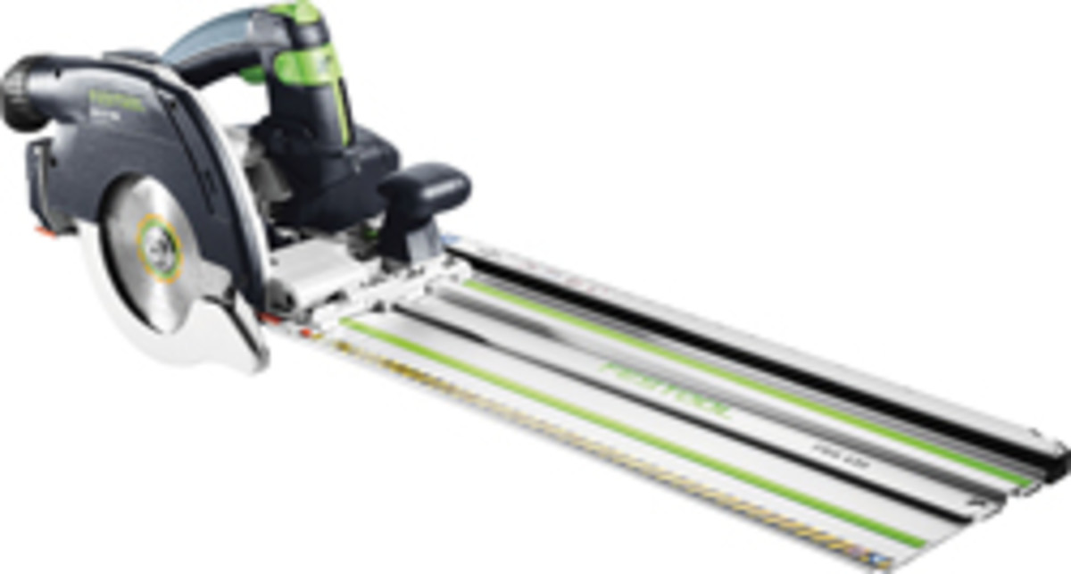 Festool's new circular saw features an attachable retracting guide rail.