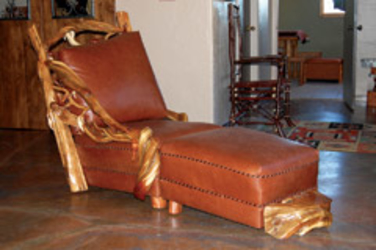 Lester Santos won the Best in Show-Woodworking Award at the Western Design Conference for his chaise lounge and ottoman.