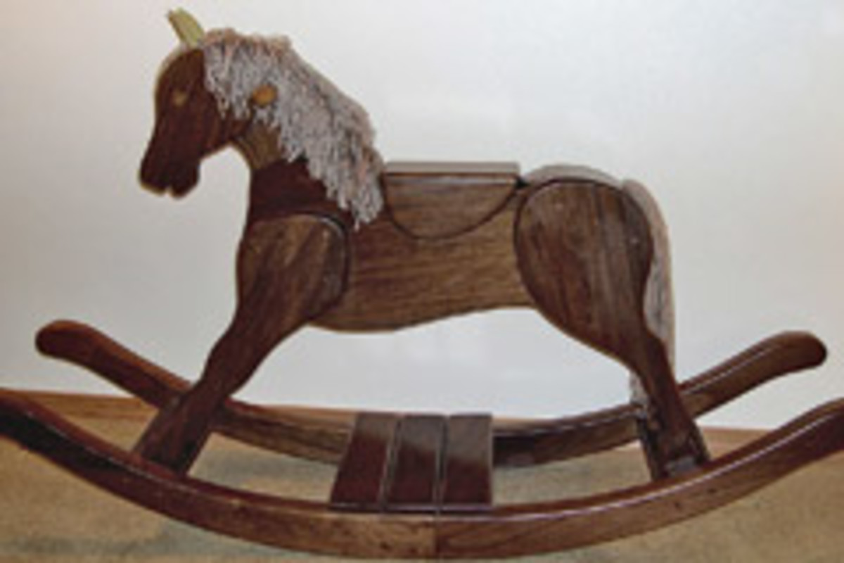The rocking horse is used as a marketing piece in the company's booth display.