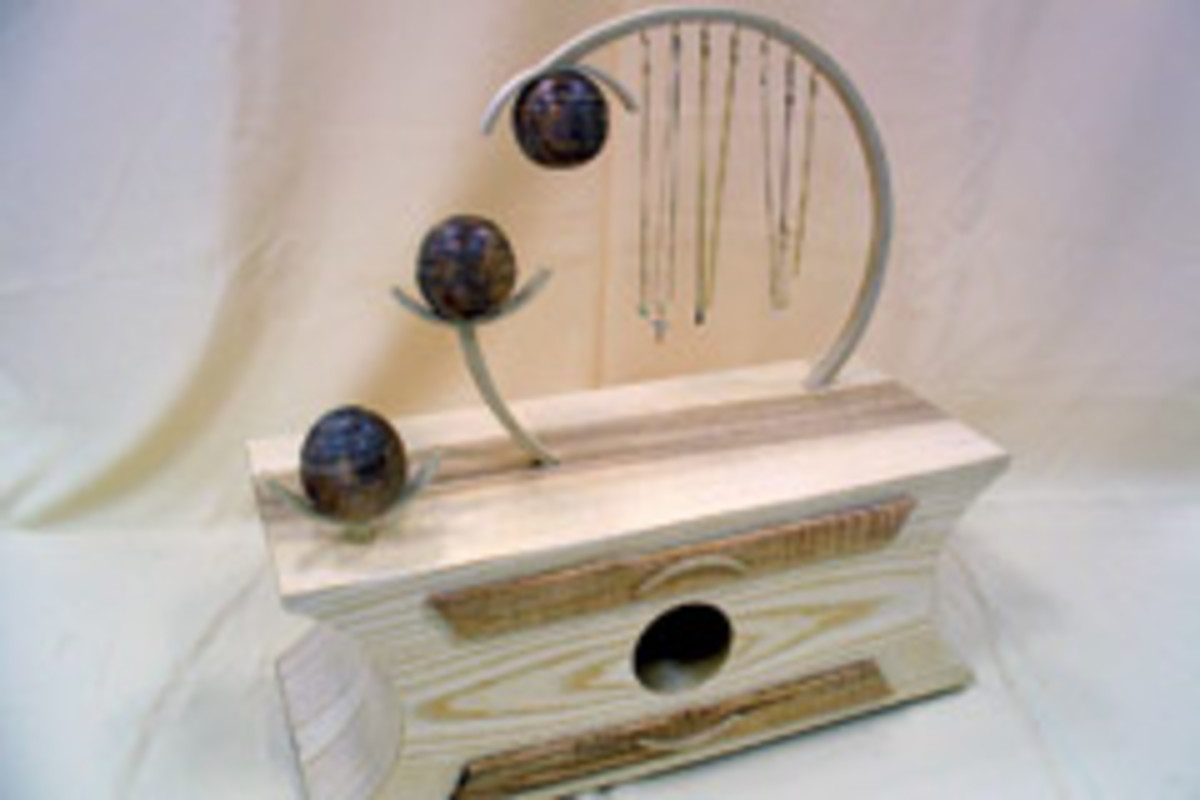 First-place winner Destiny Desroaches' jewelry box, made from ash and curly maple.