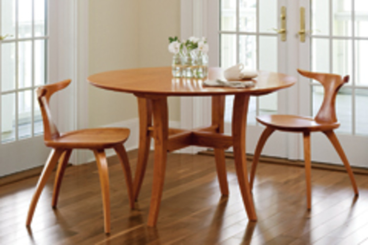 "The Meridian tables and chairs from Thos. Moser Cabinetmakers was selected for the dining segment on ""Simply Ming."""