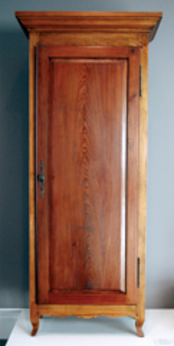 Arceneaux used cypress for his Creole-style single-door armoire that was common to Louisiana Colonial homes in the 19th century.