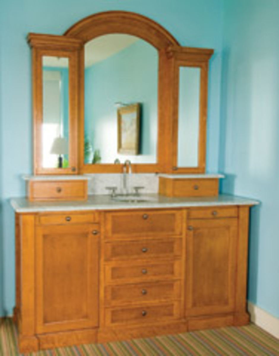 Doyle's portfolio includes this bird's-eye maple vanity for Congress Hall's presidential suite in Cape May, N.J.
