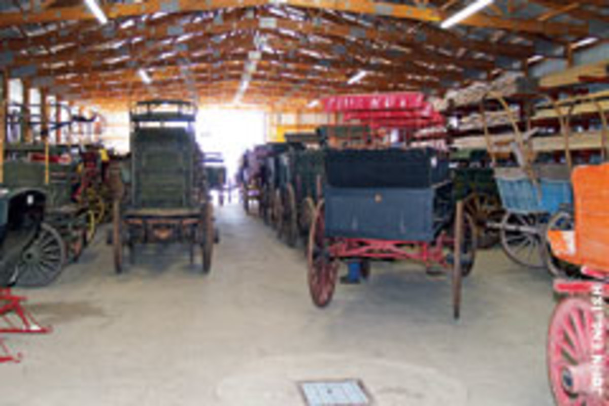 Hansen inventories about 50 vehicles for sale, most of them in perfect working order, ranging from sleighs to farm wagons, traps, surreys and coaches.
