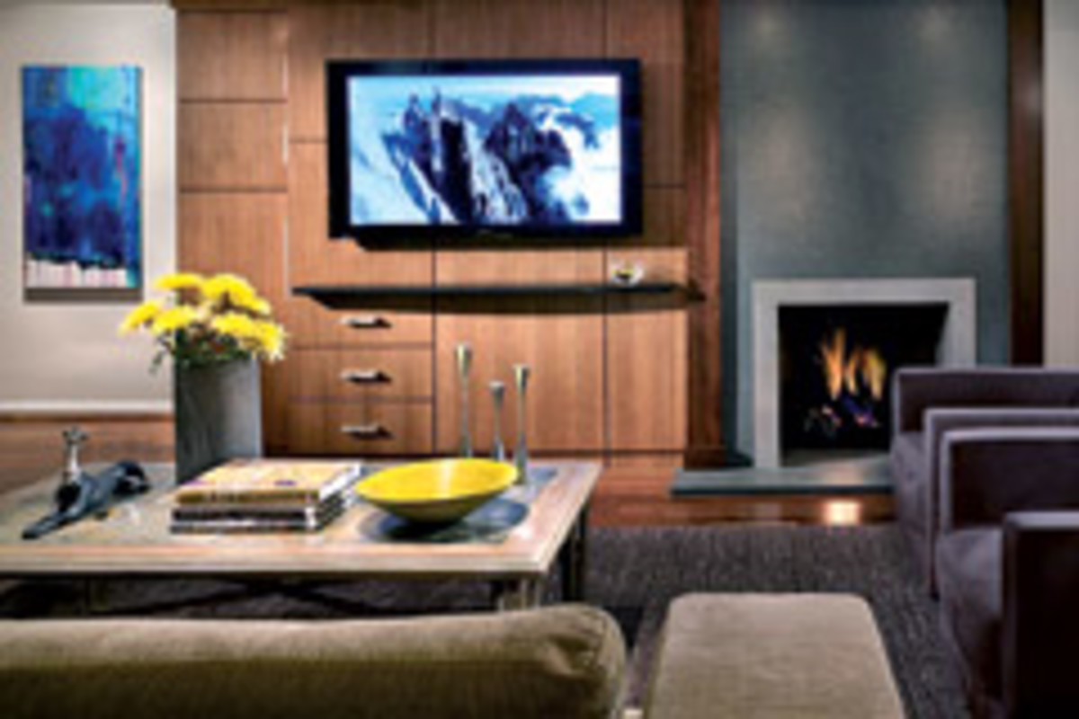 This modern wall unit is featured in a den. Turner and his crew removed the original stone hearth and added a textured granite stone-face fireplace.