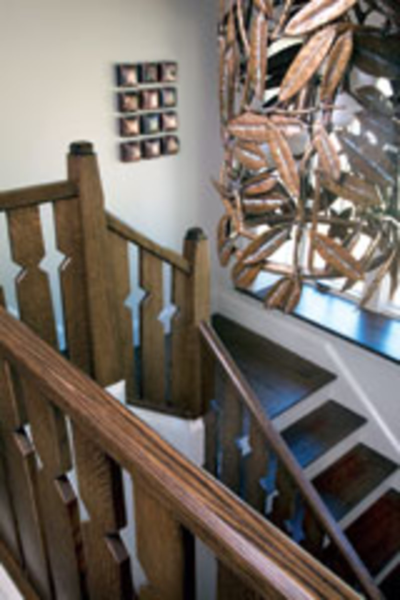 Custom stairs built for a model home affiliated with the Biltmore Estate in Asheville.
