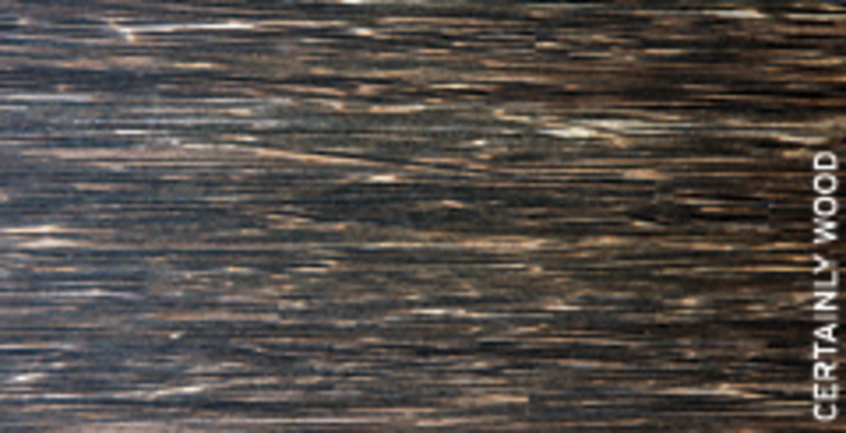 A black palm veneer panel from Certainly Wood.